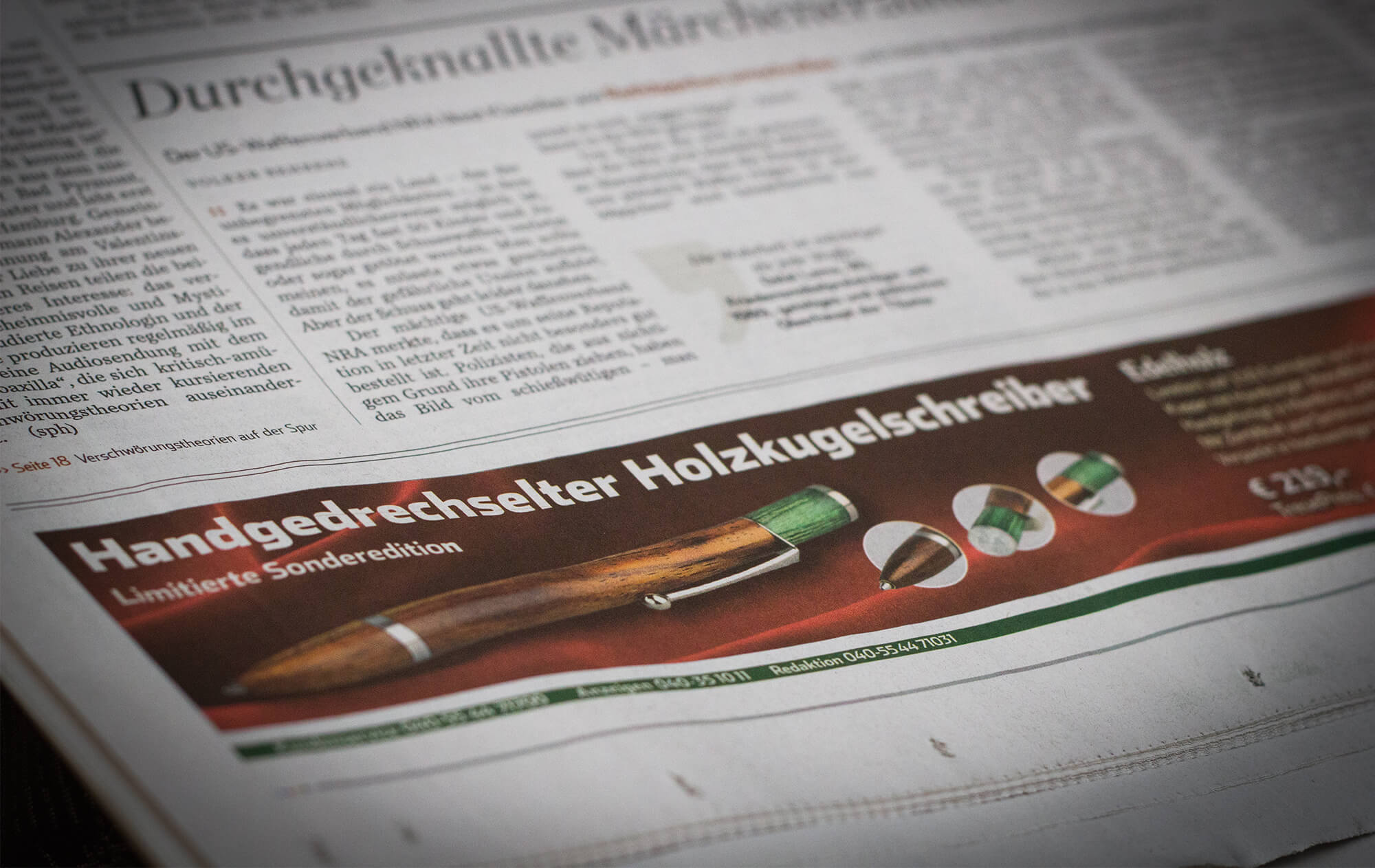 Limitierte Edition, Handgedrechselter Kugelschreiber im Hamburger Abendblatt